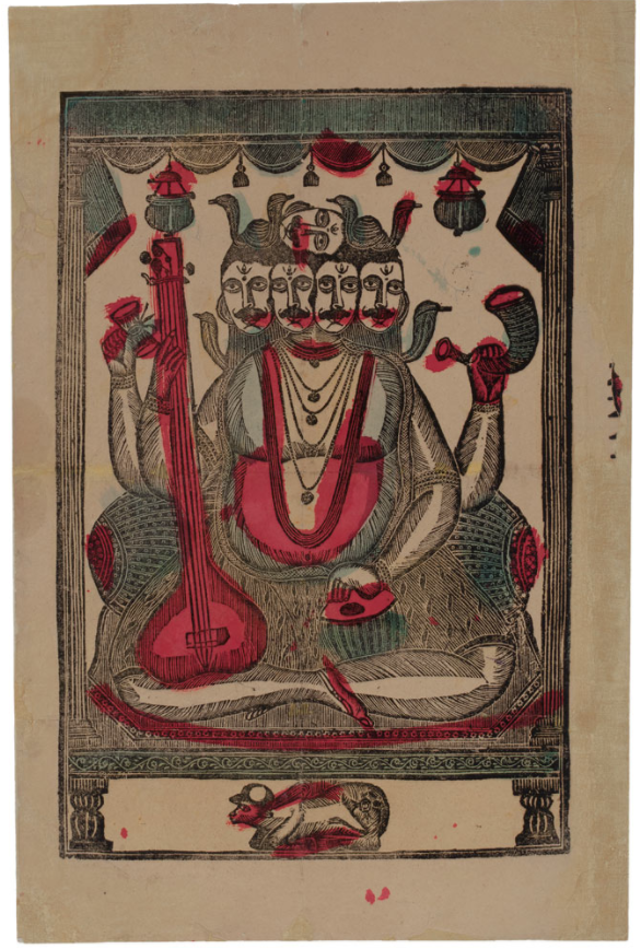 Nritya Lal Datta,  Shiva  (ca. 1860–1870), woodblock print, 17 3/4 x 11 3/4 inches, Calcutta. Collection of Mark Baron and Elise Boisanté.