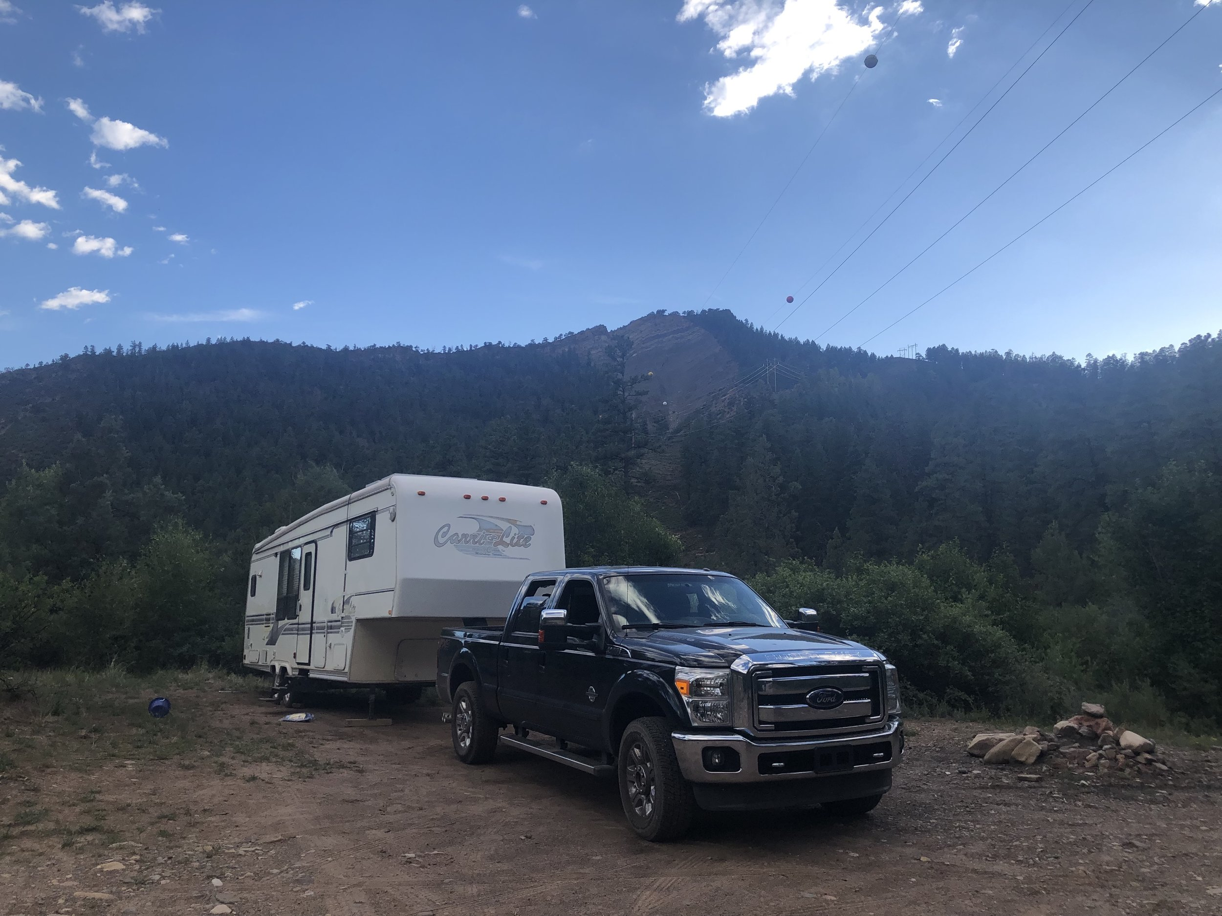 The first site we camped at. We moved about halfway through the week after taking the trailer into town to dump the tanks.