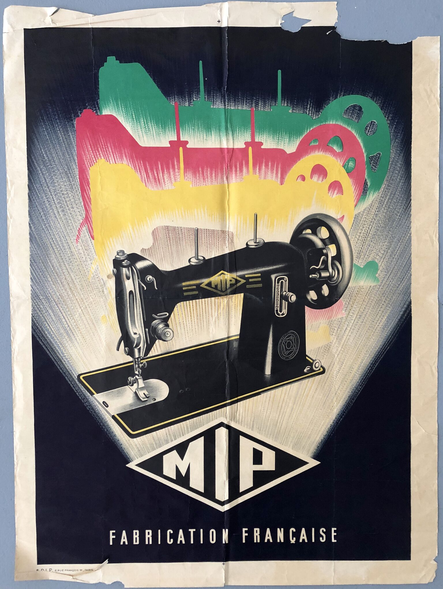 MIP - Fabrication Francaise, 1930 French Sewing Machine Poster