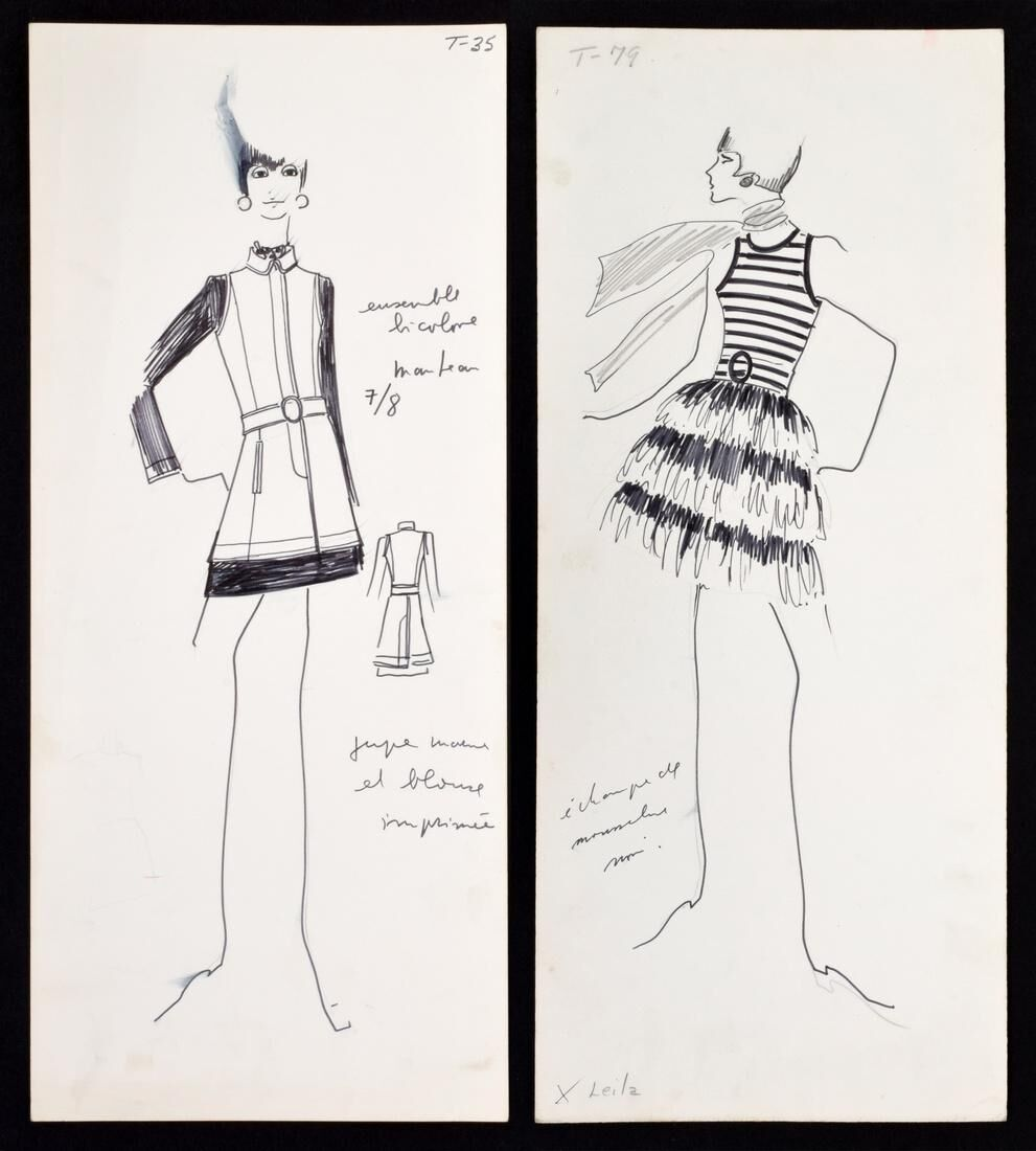 Two Original Fashion Designs ca. 1960s