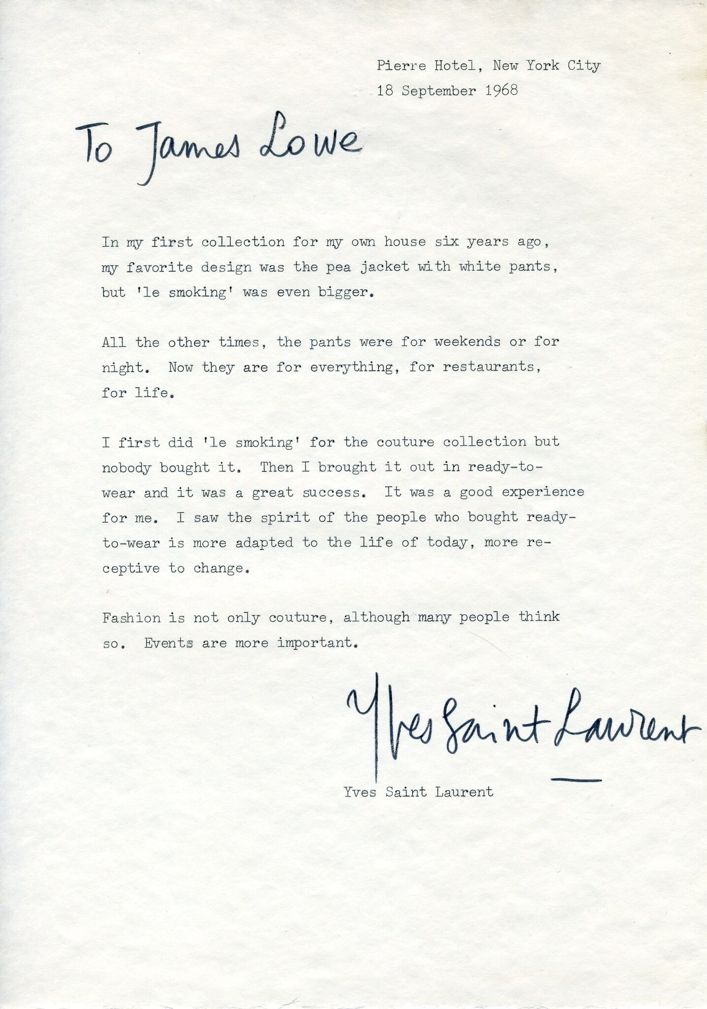 Important Signed Letter, September 18, 1968