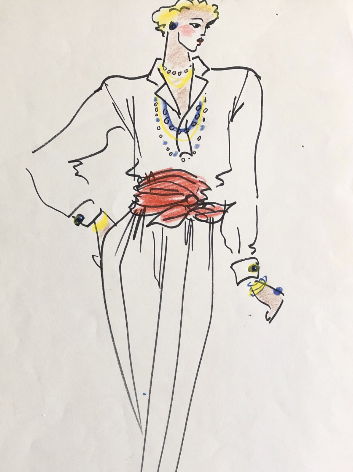 Ten Original Fashion Drawings for an Unpublished Mirabella Feature on Accessories ca. 1980s