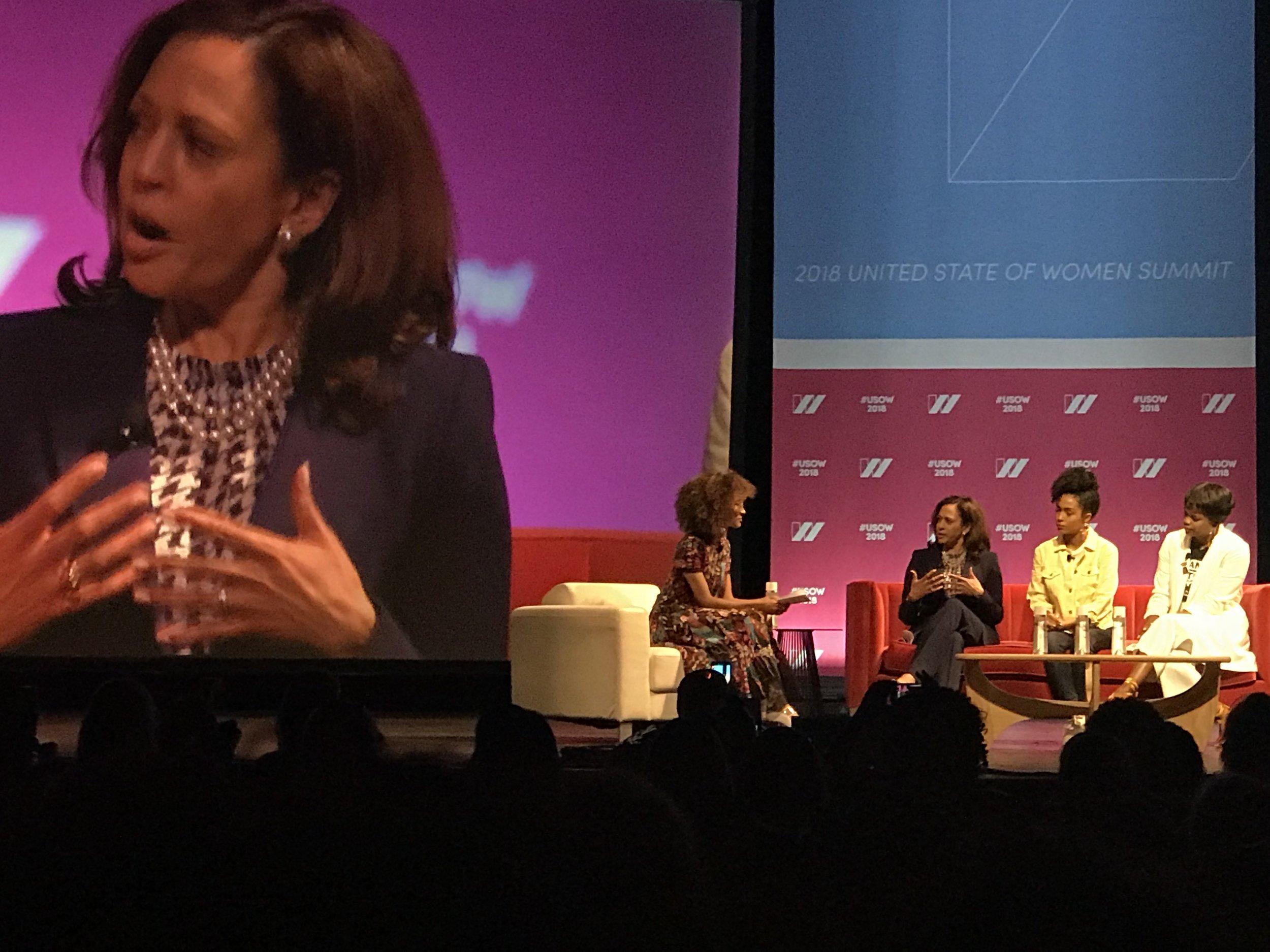 Elaine Welteroth, Senator Kamala Harris, Yara Shahidi, and Brittany Packnett