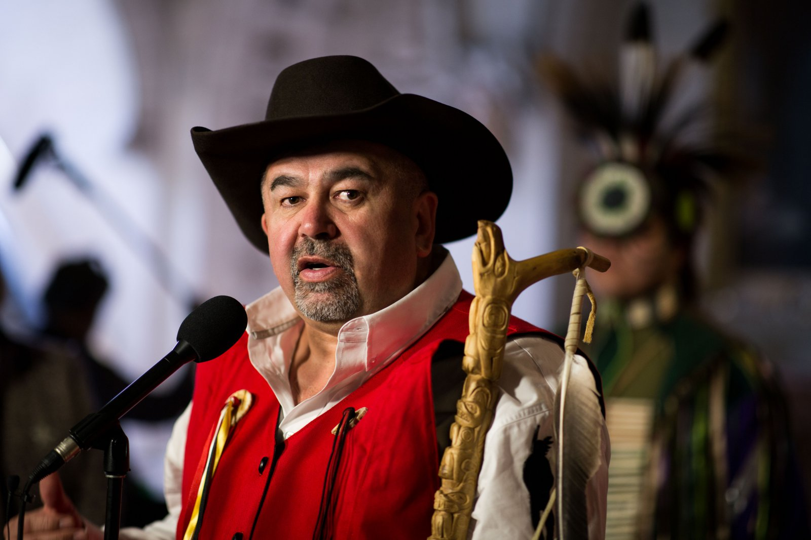 Tribal Chair Chief Joe Alphonse from the Tsilhqot'in Nation speaks to reporters outside the House of Commons on March 26, 2018. Photo by Alex Tétreault