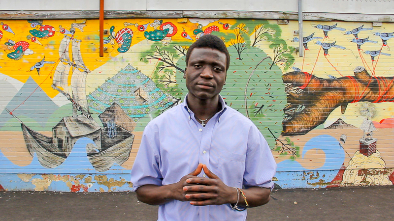 Richard Akera, student and workshop leader, photo by David Melkeljohn