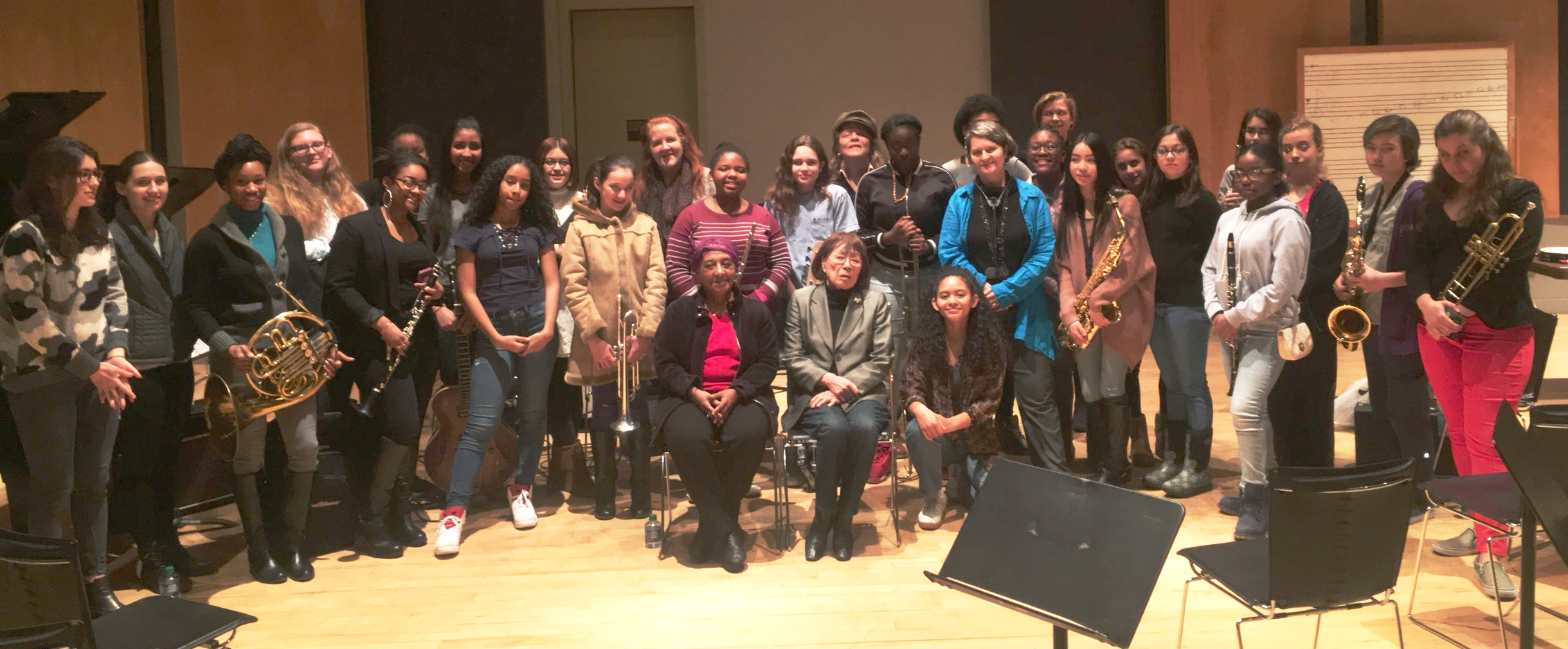 Bertha Hope, Toshiko Akiyoshi, Jessica Jones with Claire Daly, Annette Aguilar, Angeleisha Rodgers and JazzGirls from 2017
