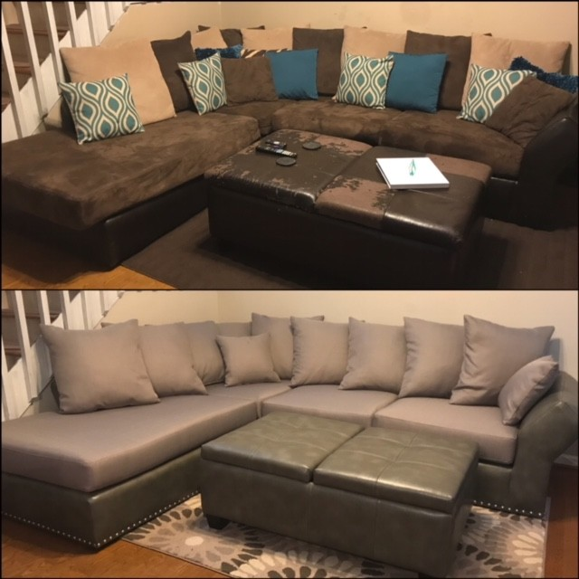 This Sectional update turned out GREAT!! #atlantacustominteriors #customupholstery #before&after #sectionalupdated #upholstery #lovemyjob #savingoldfurnitureandmakingitnew