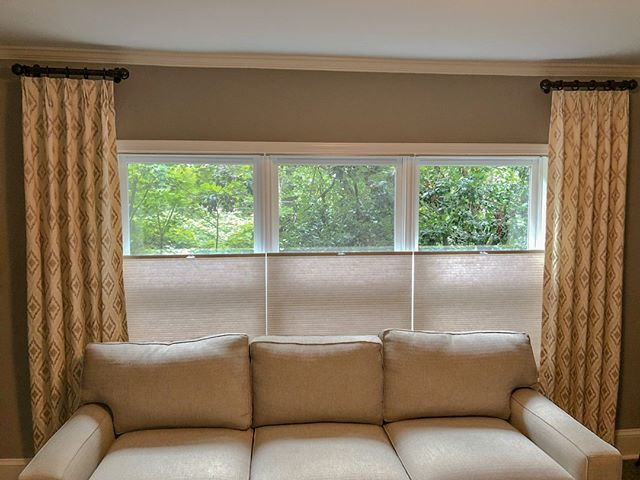 Custom drapes and shades installed for another client. These cellular shades operate from the bottom up!  #InteriorDesign #Drapes #Shades #WindowTreatments #CustomInteriorDesign #Upholstery