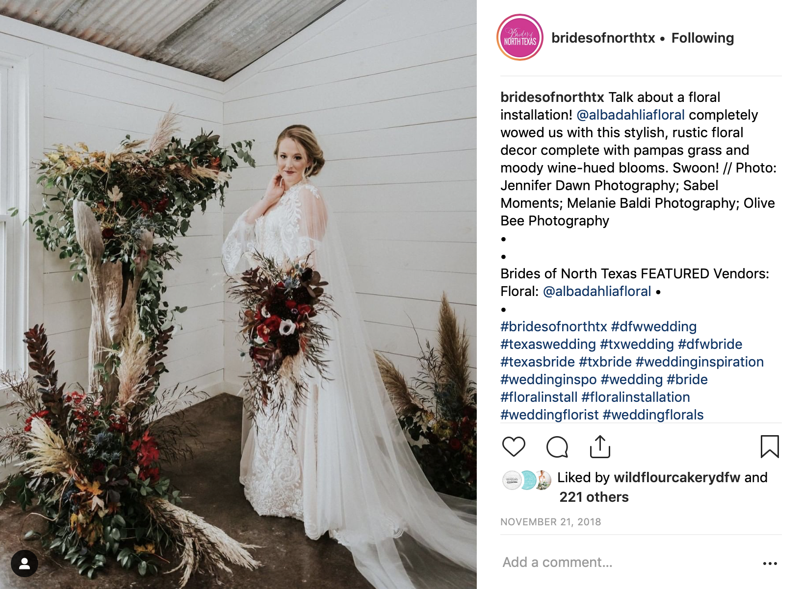 Brides of North Texas Instagram - Our Gothic Glam styled shoot was featured on their Instagram! Check out our instagram: @southernhousewivesplanning