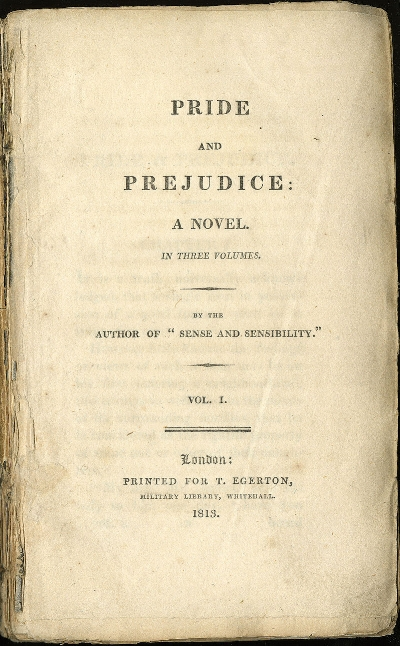 Title Page of the first edition of Pride and Prejudice