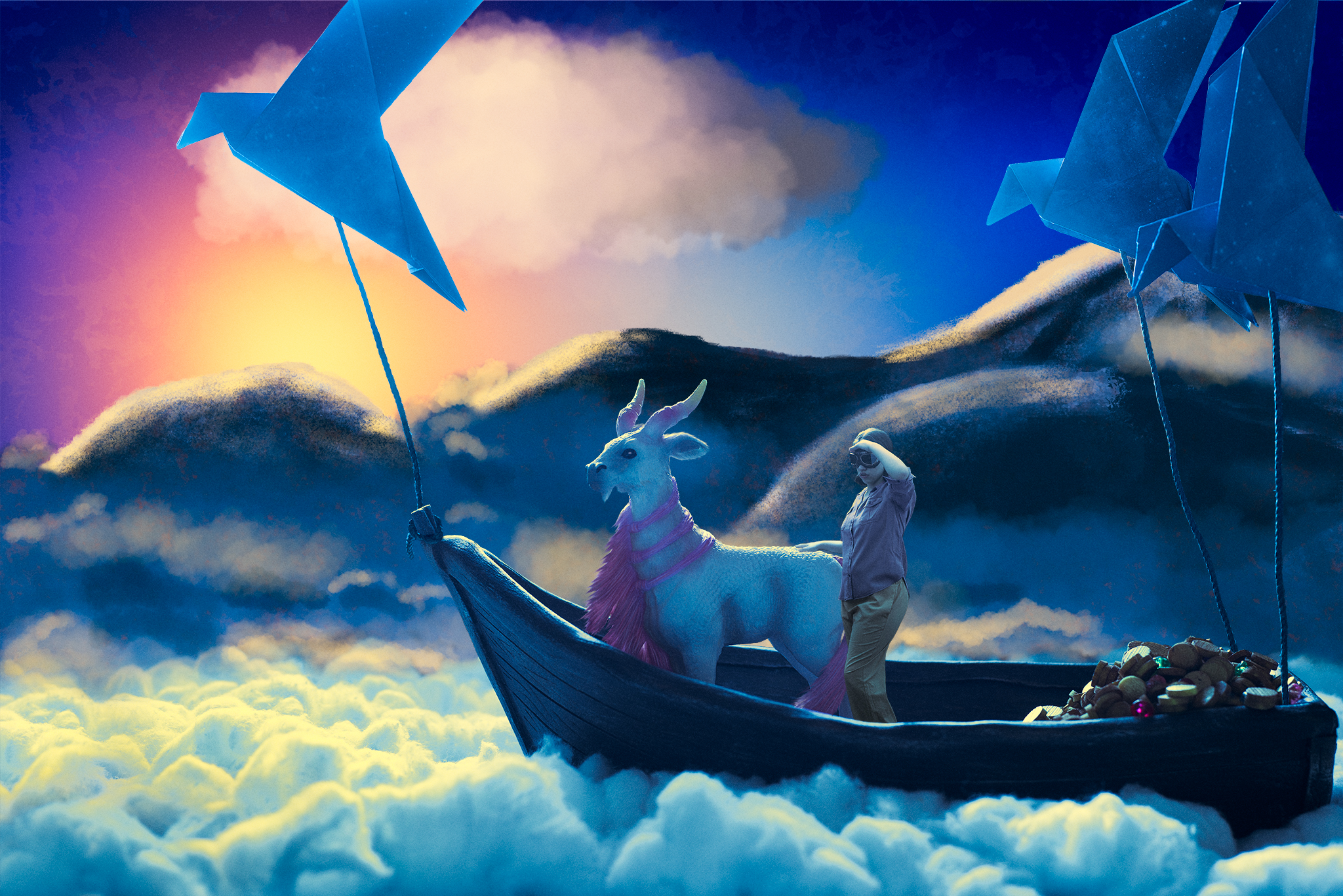 The girl and her goat sailed through the mountaintops with their loot reveling in the success of their nocturnal adventure as the sun rose and the rest of the world awoke.
