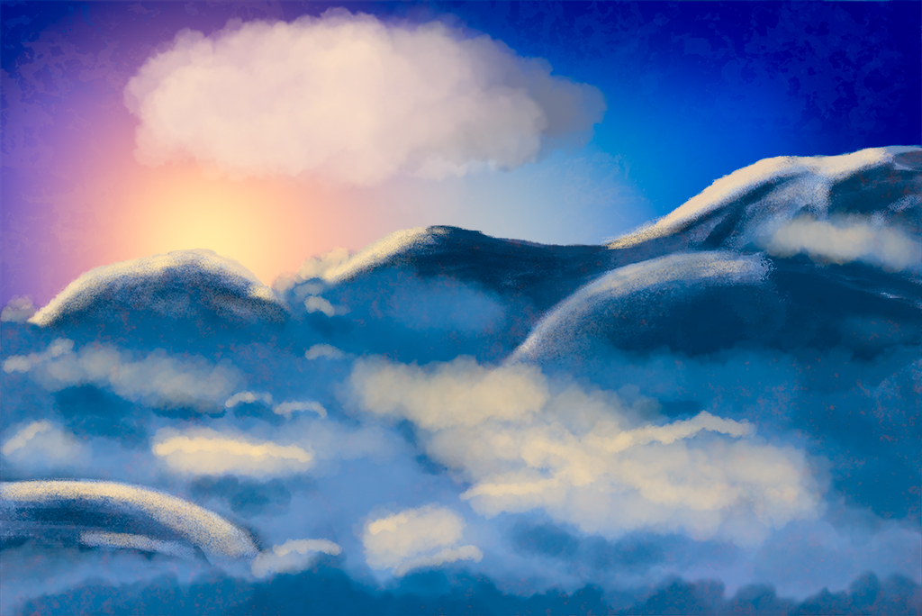 Digitally Painted Mountain Landscape
