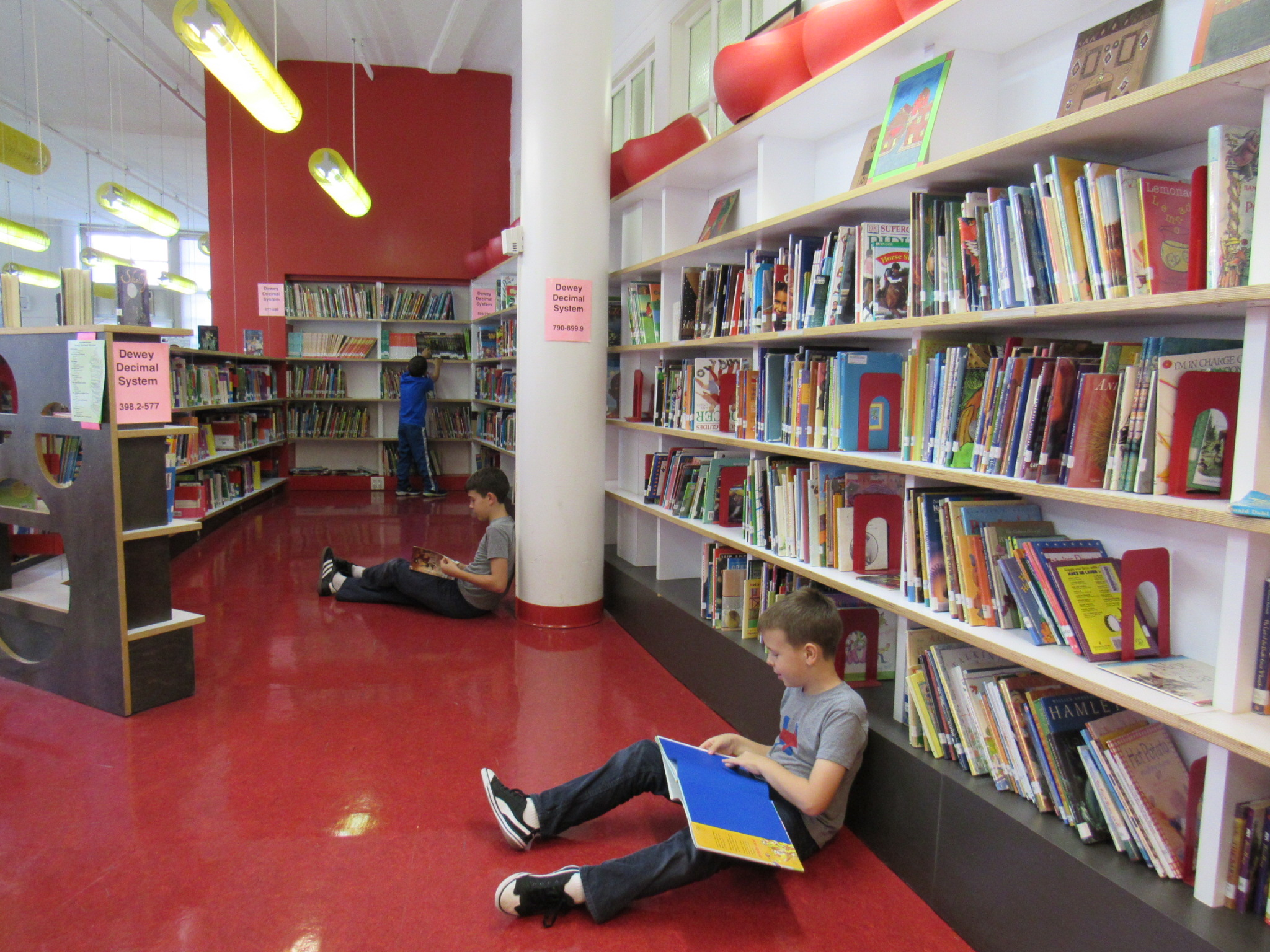 our library - Funded by a Robin Hood Foundation Grant, our state of the art Library is on of the outstanding features of PS 110. The library opened in 2008 filled with brand new books and computers. The meticulously designed space creates an ideal atmosphere for students to get excited about reading. Each class visits the library weekly to check out books, listen to readings and participate in interactive discussions. The library also serves as a meeting place for parent groups, hosts evening PTA seminars, and houses a media center for teachers and staff.The library is led by our librarian, Eliza Farrell. Every PS 110 parent is welcome and encouraged to get involved. This three-way partnership allows our children access to a phenomenal resource. It is also a great example of working together, one of the core values of PS 110.***To access additional resources, please click here.