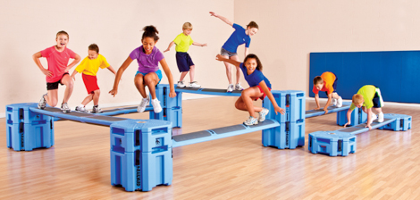 our gym - Climb, crawl, jump, duck! The Railyard system is a modular obstacle course that helps us achieve school-wide fitness goals while providing an active play area for students when inclement weather forces recess inside. The Railyard develops students' strength, balance, coordination, agility, flexibility and endurance. Its lightweight, durable, portable, and modifiable design makes it a user-friendly product that is readily incorporated into structured PE classes.Although used by over 900 schools nationwide, PS110 is proud to be the first school in New York City to incorporate the Railyard into its PE curriculum.