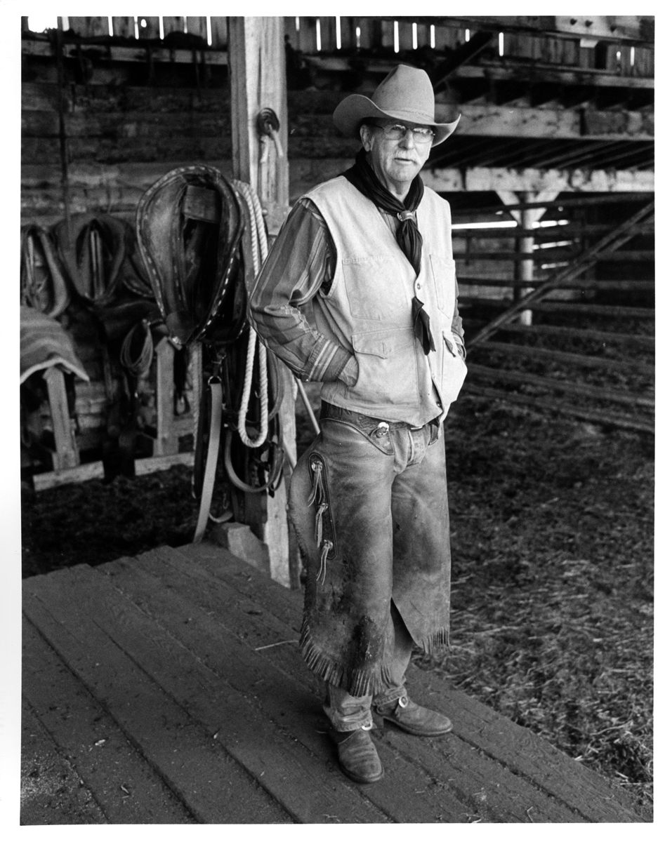 """Cow boss, Bondurant Wyoming.  Gerry Endicott graciously posed for a picture before reminding the crew: """"Guys, we're wastin' daylight!"""""""