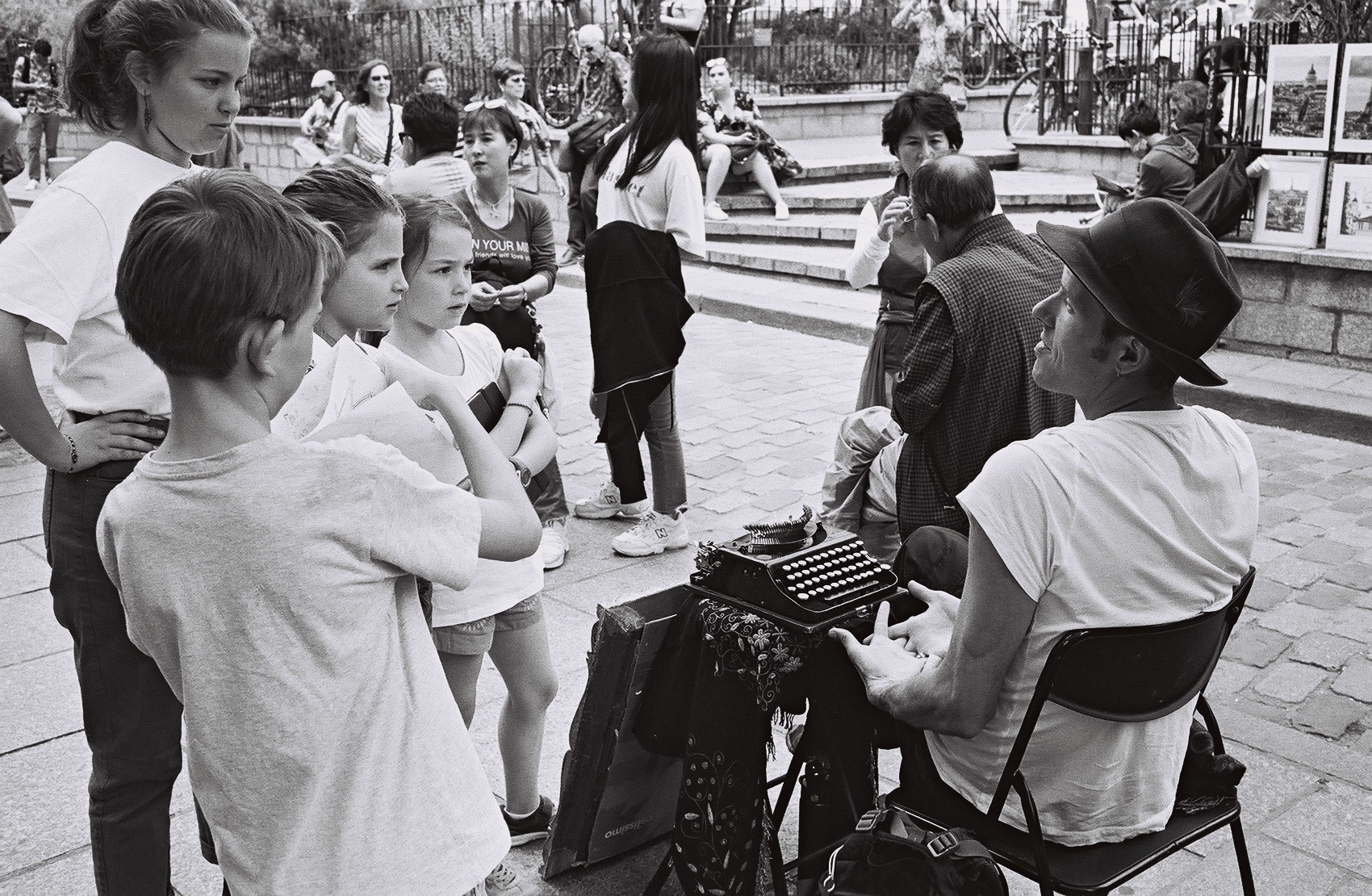 Leo Skála , an author, poet, and bookbinder, engages young writers outside  Shakespeare and Co .