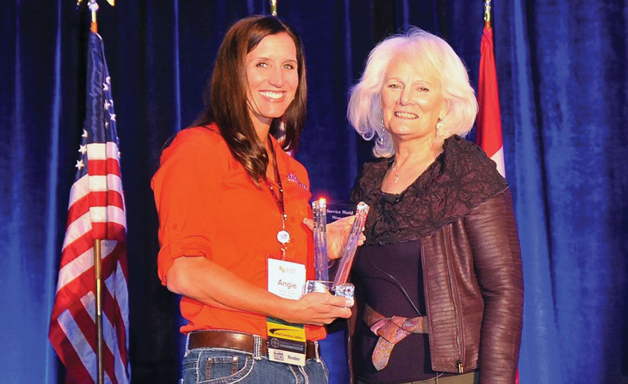 Angie Snow (left), owner and vice president of Western Heating and Air, Orem Utah, was named Woman of the Year at the inaugural Service World Expo in Las Vegas in October 2016.