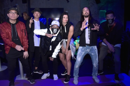 Steve Aoki, Alicia Napoleon, and the KINJAZ, Kris Connor, Getty Images on behalf of ASICS