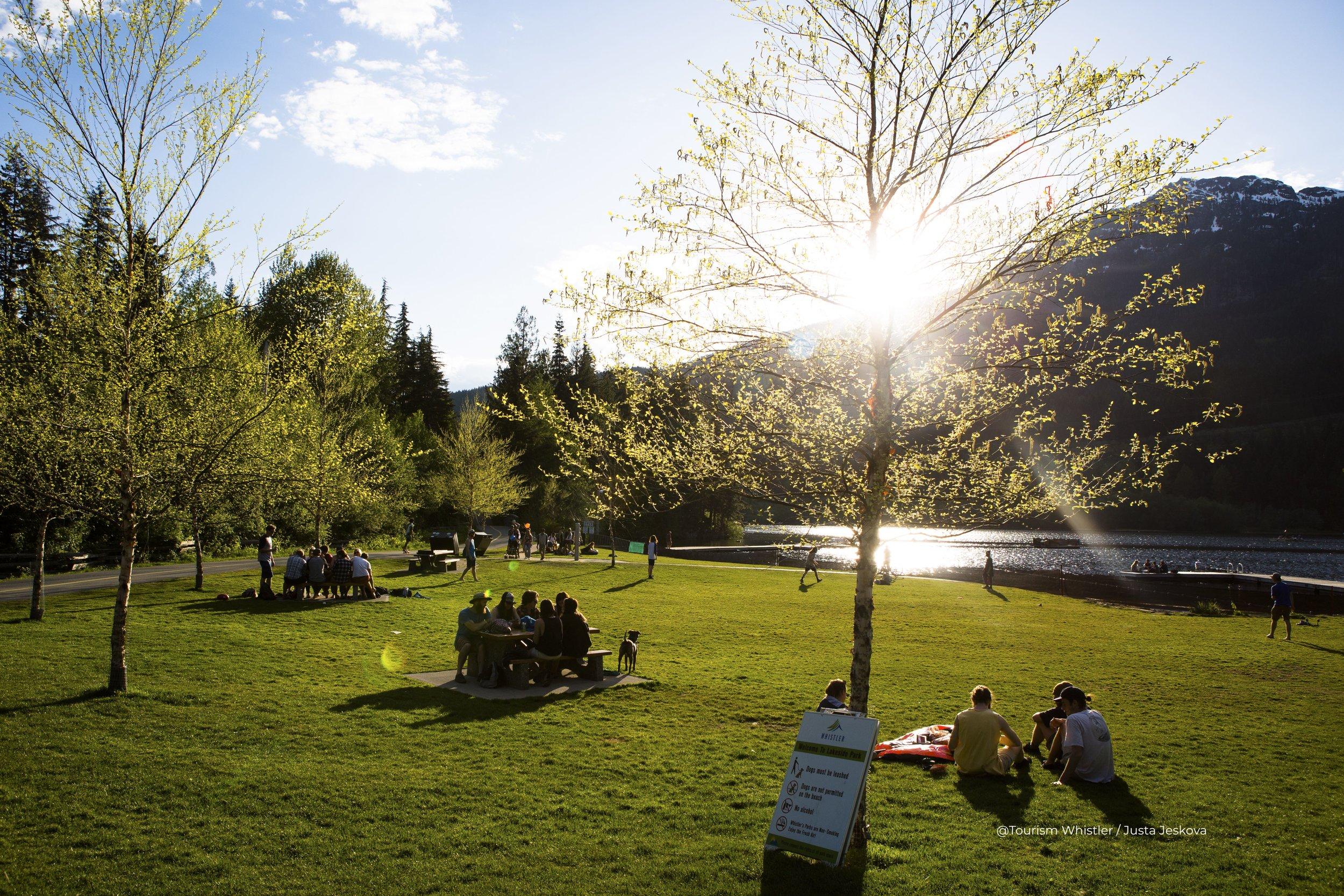 Lakeside park in spring, Whistler, BC. Photo by Justa Jeskova