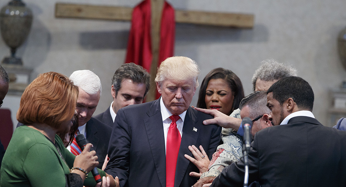 Evangelical Leaders lay hands on Donald Trump in Cleveland, September 21, 2016.