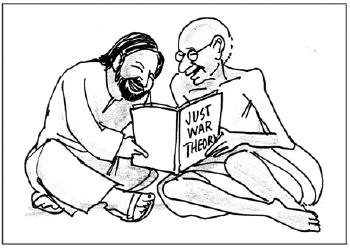 - This cartoon, first published in the National Catholic Reporter (according to this blogger), hints at the larger debate within Christianity as to whether or not Just War Theory is consistent with the teachings of Jesus. Christianity also has a very large pacifist tradition that includes Anabaptists and number of Roman Catholics. Perhaps the classic treatment of the matter is Ramsey and Hauerwas's Speak up for Just War or Pacifism.
