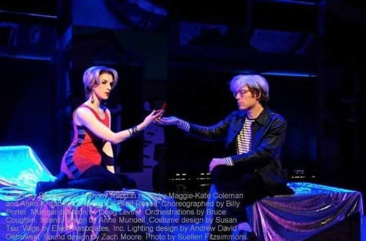 """As Edie Sedgwick with Anthony Rapp as Andy Warhol in """"Pop!"""" City Theatre, Pittsburgh"""