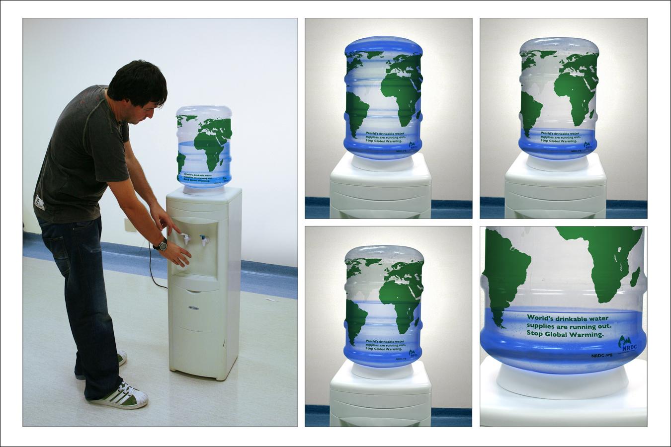 Título: As reservas de água potável do planeta estão acabando. Pare o Aquecimento Global.