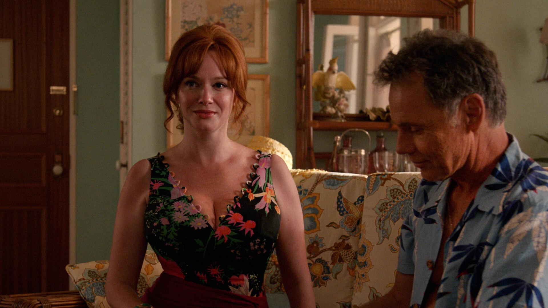 Christina Hendricks as Joan Harris and Bruce Greenwood as Richard Burghoff  Mad Men  Season 7