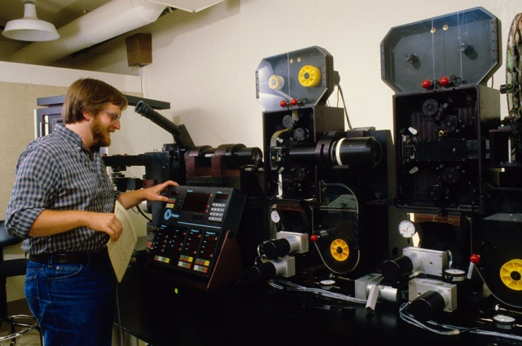 An optical printer in use at ILM in the 80s