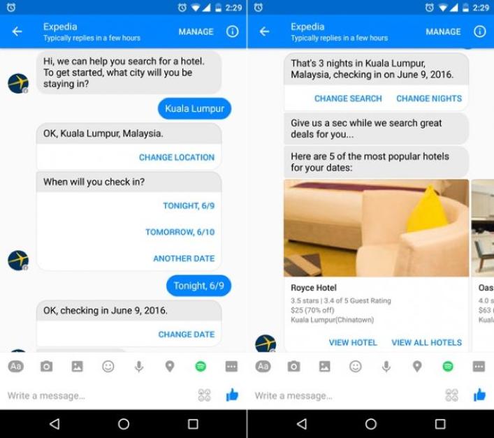 Expedia-facebook-messenger-chatbot