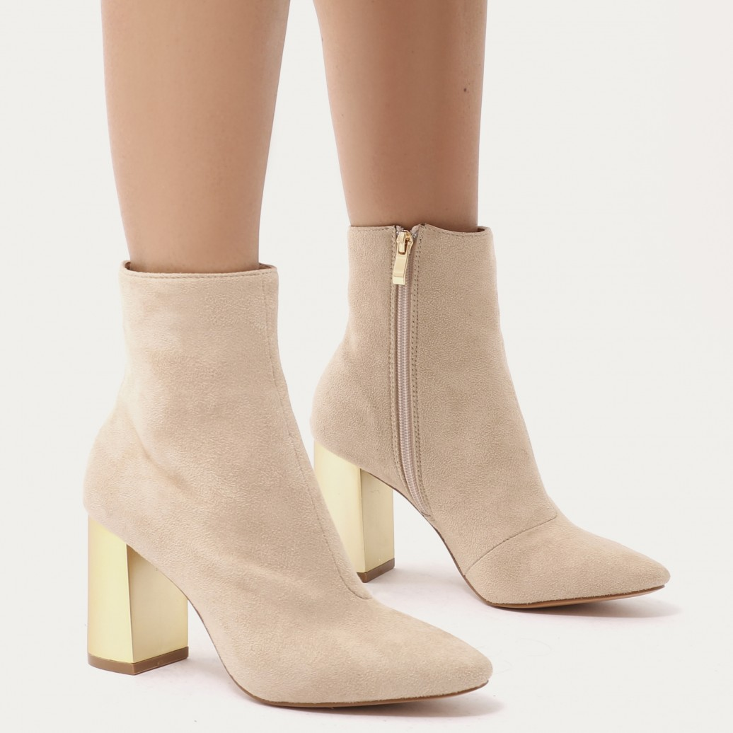 ORLA METALLIC GOLD HEEL ANKLE BOOTS IN NUDE FAUX SUEDE.jpg