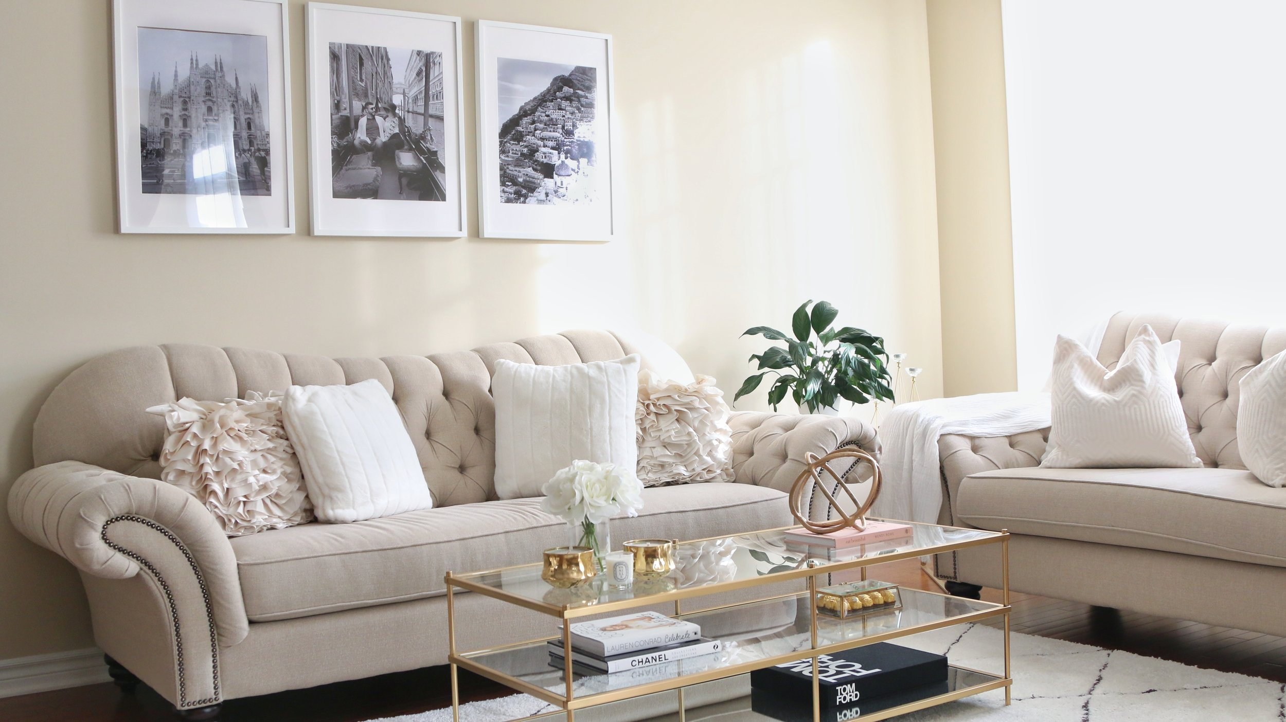 Living Room Tour White Beige Gold Decor H A N