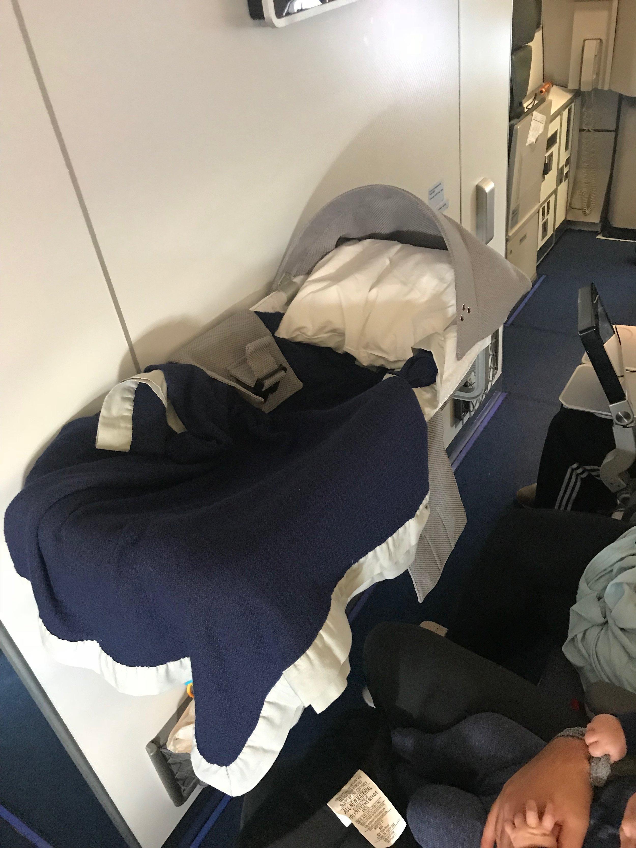bassinet on the plane.JPG