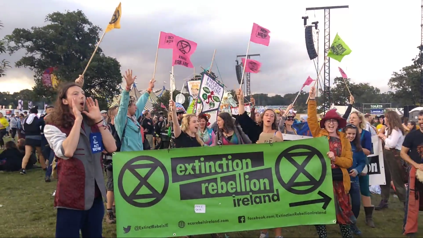 XR Parade: Extinction Rebellion members leading a parade through the Electric Picnic  main arena, Sunday September 1 st .