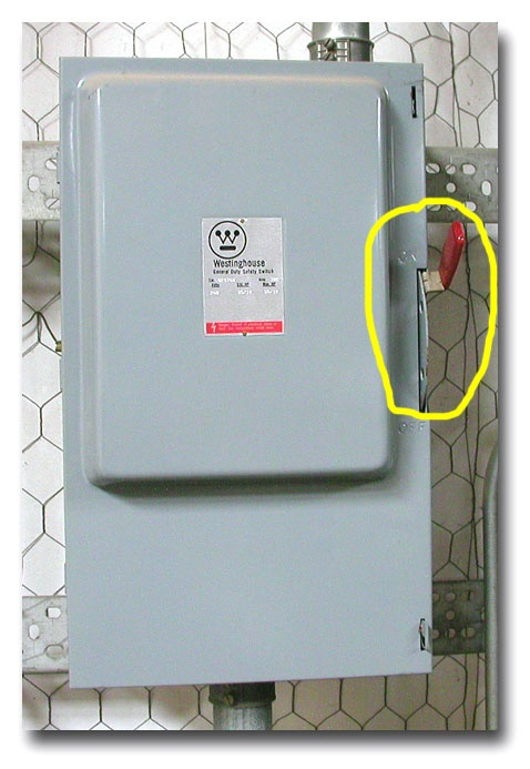 he Main breaker switch will be located in or around the box or meter.