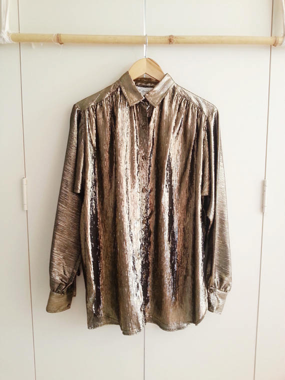 Vintage Blouse, 80s/90s Metallic Retro Blouse