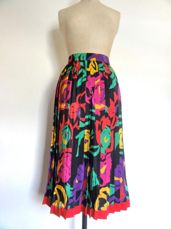 80s High Waisted Pleated Skirt