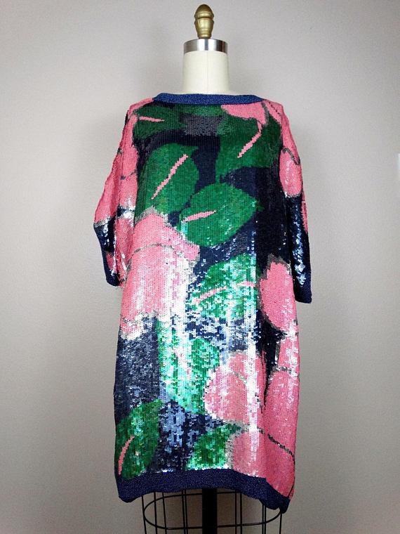Bright Retro Sequined Micro Mini Dress