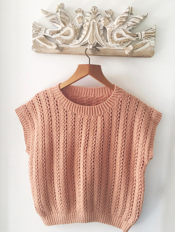 1980's Vintage Knit Top In Clay