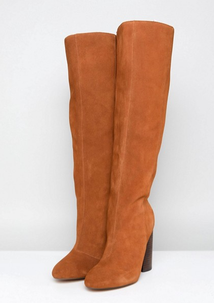 CABRINIE Suede Pull On Knee Boots