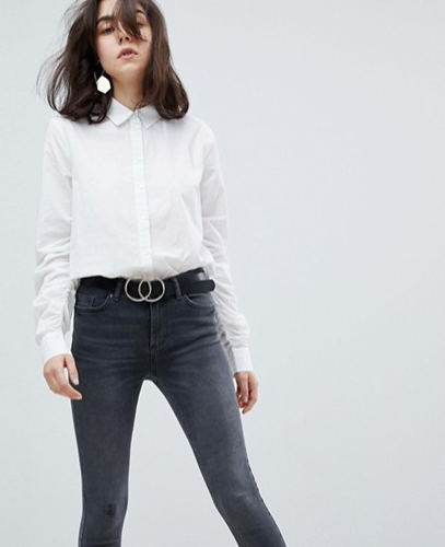 Pieces Ruched Sleeve Shirt With Buttoned Front