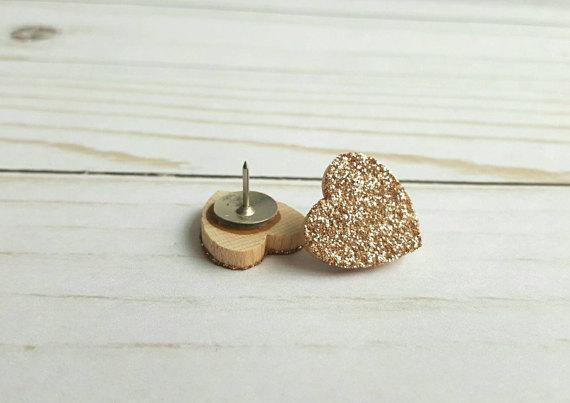 Champagne Gold Glitter Heart Thumb Tacks