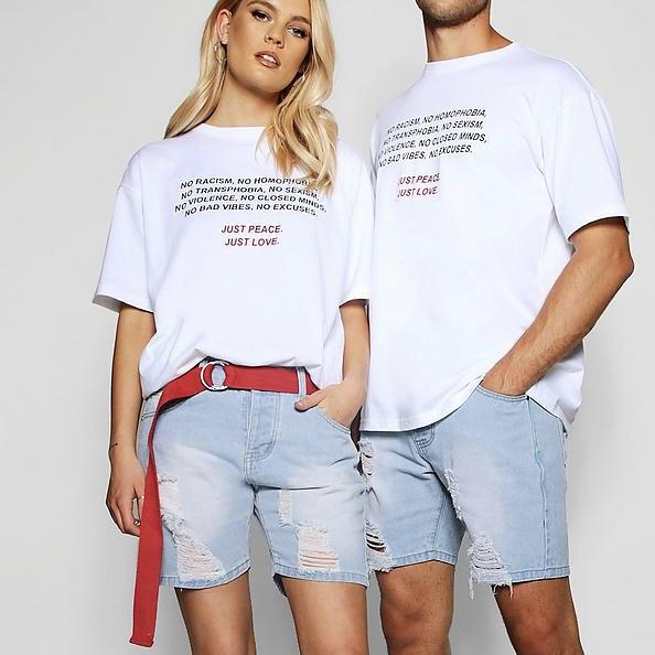 Pride Distressed Slim Fit Denim Shorts
