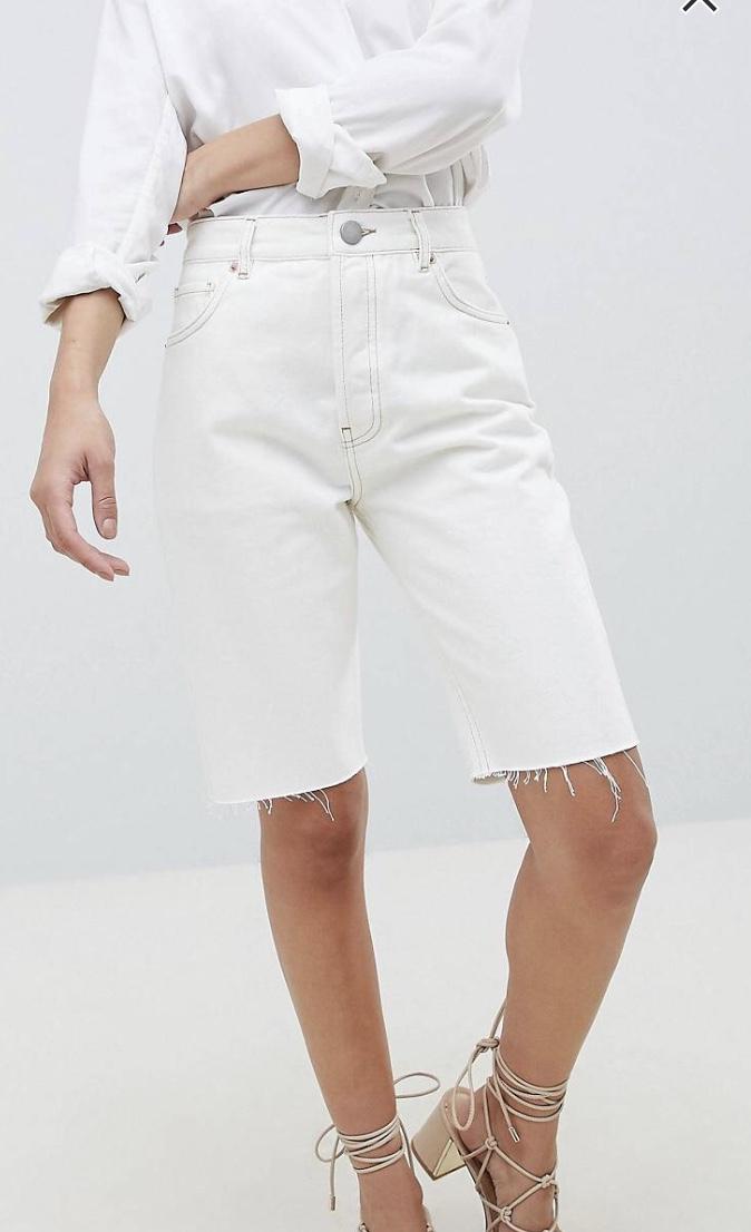 ASOS DESIGN denim high rise longline short in white