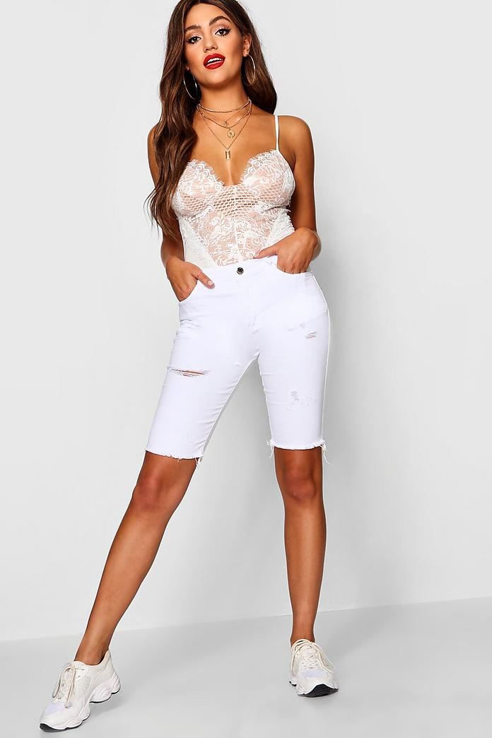 Mid Rise Ripped Distressed Bermuda Shorts