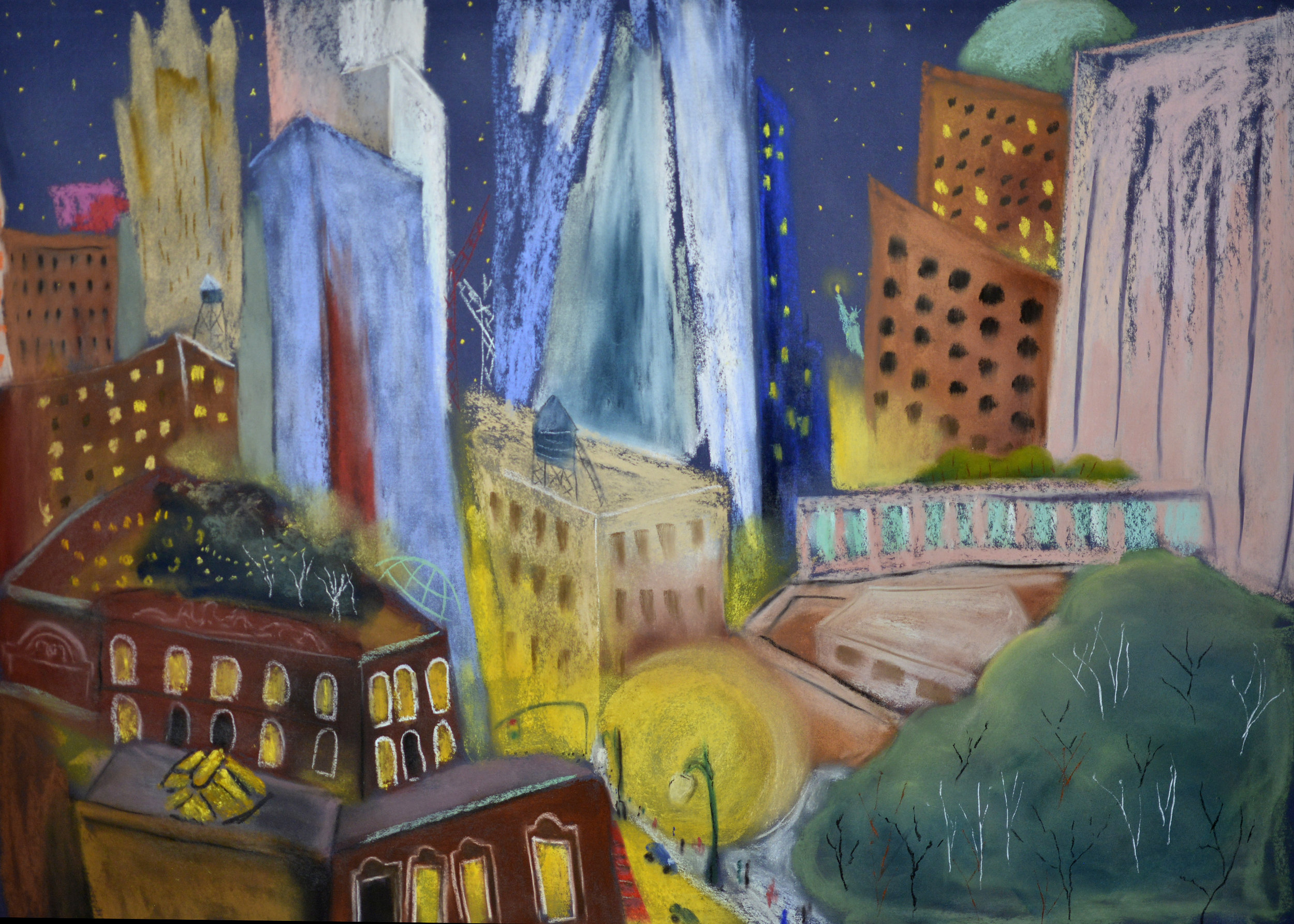 """Tribeca Evening ,  pastel on sanded paper, 22"""" X 30""""  on exhibit at the  Bloomingdale Art Collective"""
