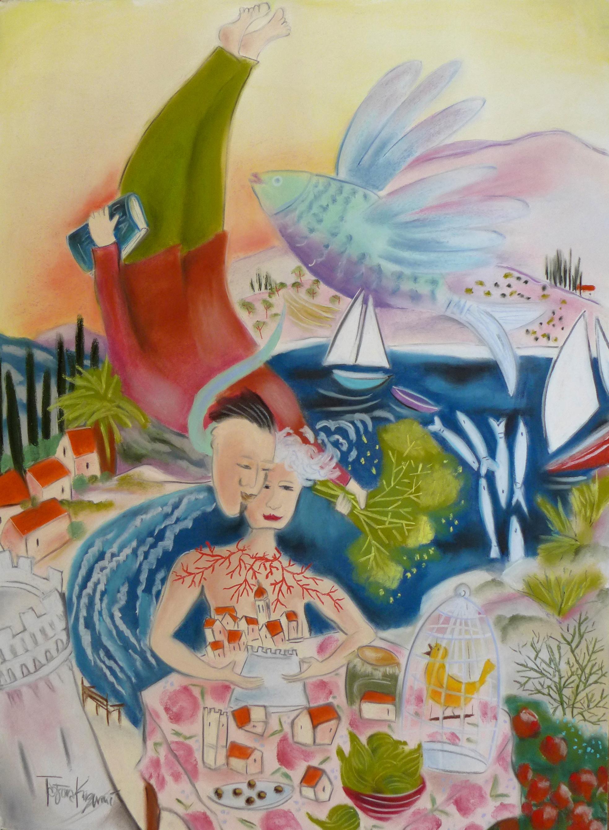 "Bring Me Home, Dreams of Dalmatia Series, pastel on paper 30"" X 22"""