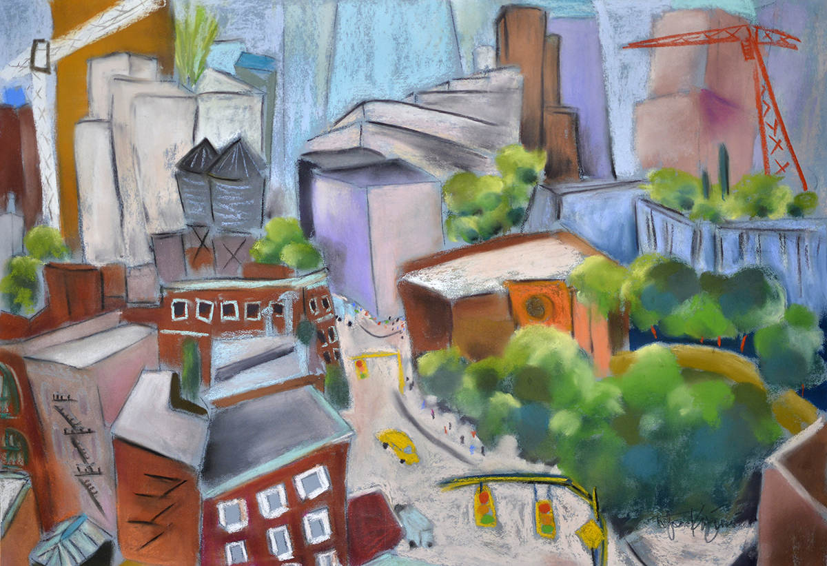 "TriBeCa (from Vivian's window) pastel on sanded paper, 22"" X 30"""