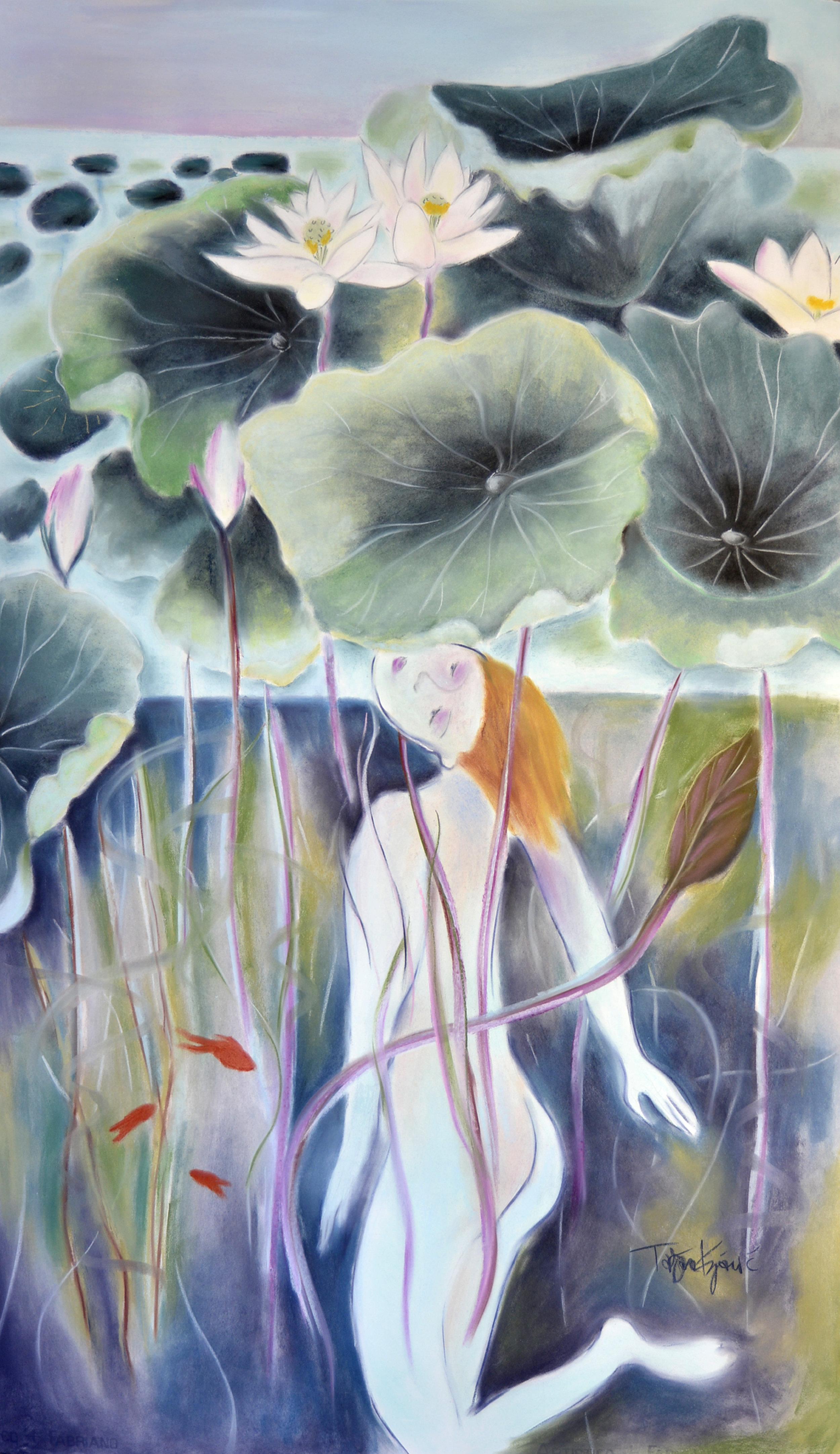 Lotus Pond Diver print series.  Medium and large scale archival prints on acid free paper.