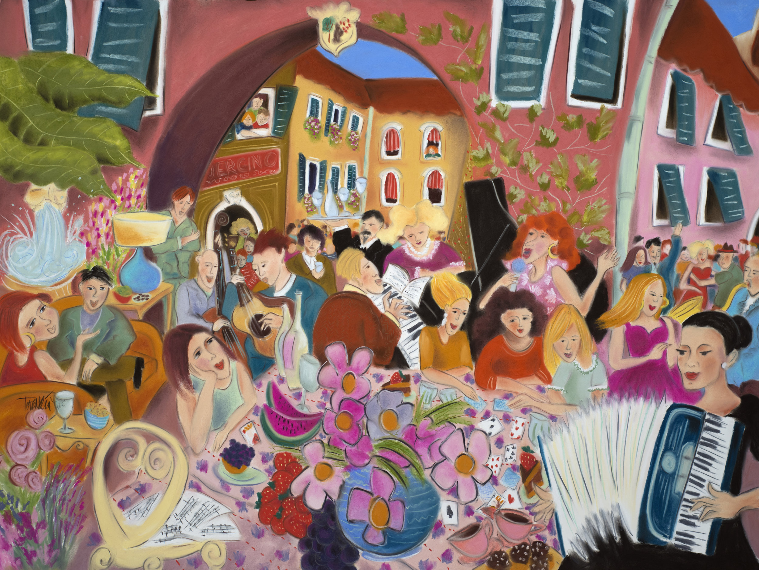 Party in the Courtyard of Il Guercino print series.  Medium and large scale archival prints on acid free paper.